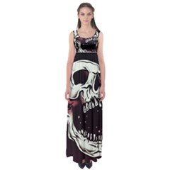 Death Skull Empire Waist Maxi Dress