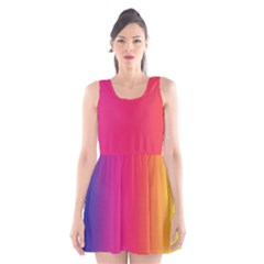Abstract Rainbow Scoop Neck Skater Dress
