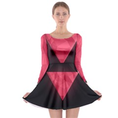 Geometric Triangle Pink Long Sleeve Skater Dress