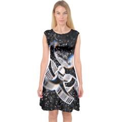 Microscopic Atoms Capsleeve Midi Dress