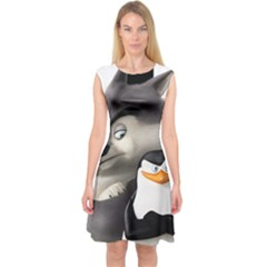 Penguins Of Madagascar Skipper And Classified Capsleeve Midi Dress