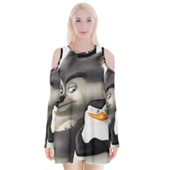 Penguins Of Madagascar Skipper And Classified Velvet Long Sleeve Shoulder Cutout Dress
