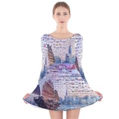 Hong Kong Travel Long Sleeve Velvet Skater Dress