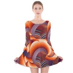 The Touch Digital Art Long Sleeve Velvet Skater Dress