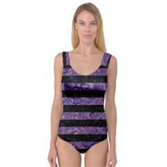 Stripes2 Black Marble & Purple Marble Princess Tank Leotard