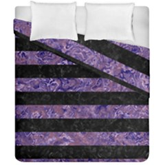 Stripes2 Black Marble & Purple Marble Duvet Cover Double Side (california King Size)
