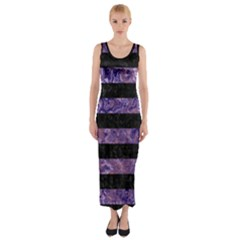 Stripes2 Black Marble & Purple Marble Fitted Maxi Dress