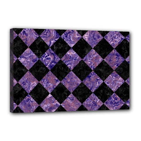 Square2 Black Marble & Purple Marble Canvas 18  X 12  (stretched)