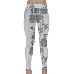 Black And White Floral Classic Yoga Leggings