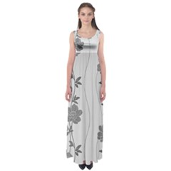 Black And White Floral Empire Waist Maxi Dress