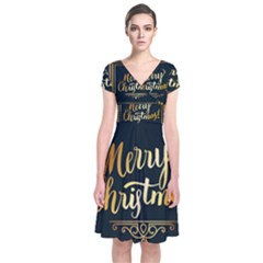 Christmas Gold Black Frame Noble Short Sleeve Front Wrap Dress