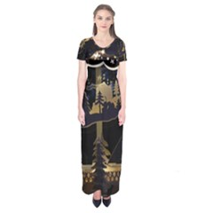 Christmas Advent Candle Arches Short Sleeve Maxi Dress