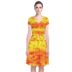 Background Image Abstract Design Short Sleeve Front Wrap Dress