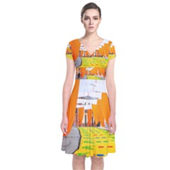 Corpus Torrenueva Procession Short Sleeve Front Wrap Dress