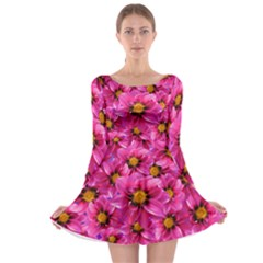 Dahlia Flowers Pink Garden Plant Long Sleeve Skater Dress