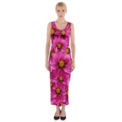 Dahlia Flowers Pink Garden Plant Fitted Maxi Dress