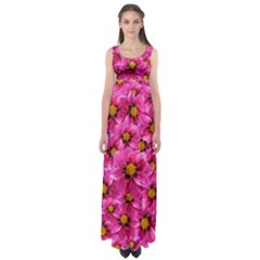 Dahlia Flowers Pink Garden Plant Empire Waist Maxi Dress