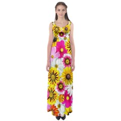 Flowers Blossom Bloom Nature Plant Empire Waist Maxi Dress