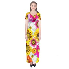 Flowers Blossom Bloom Nature Plant Short Sleeve Maxi Dress