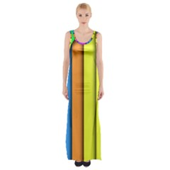 More Color Abstract Pattern Maxi Thigh Split Dress