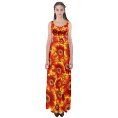 Gerbera Flowers Blossom Bloom Empire Waist Maxi Dress