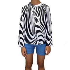 Animal Cute Pattern Art Zebra Kids  Long Sleeve Swimwear