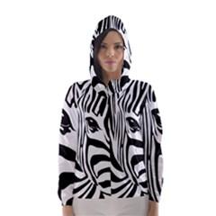 Animal Cute Pattern Art Zebra Hooded Wind Breaker (women)