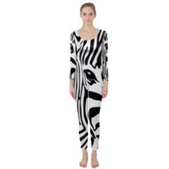 Animal Cute Pattern Art Zebra Long Sleeve Catsuit