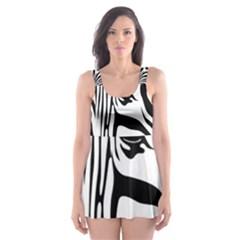 Animal Cute Pattern Art Zebra Skater Dress Swimsuit