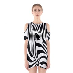 Animal Cute Pattern Art Zebra Shoulder Cutout One Piece