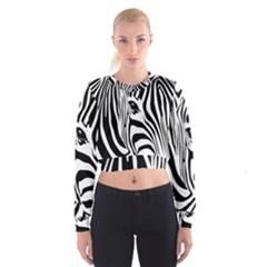Animal Cute Pattern Art Zebra Women s Cropped Sweatshirt