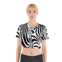 Animal Cute Pattern Art Zebra Cotton Crop Top