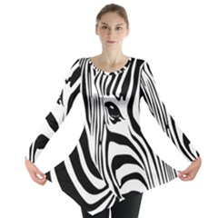 Animal Cute Pattern Art Zebra Long Sleeve Tunic