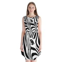Animal Cute Pattern Art Zebra Sleeveless Chiffon Dress
