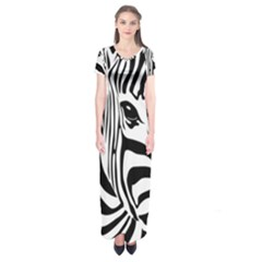 Animal Cute Pattern Art Zebra Short Sleeve Maxi Dress