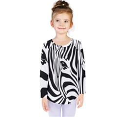 Animal Cute Pattern Art Zebra Kids  Long Sleeve Tee