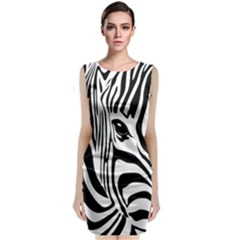 Animal Cute Pattern Art Zebra Sleeveless Velvet Midi Dress