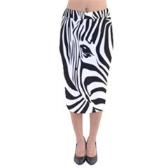 Animal Cute Pattern Art Zebra Velvet Midi Pencil Skirt