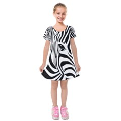 Animal Cute Pattern Art Zebra Kids  Short Sleeve Velvet Dress