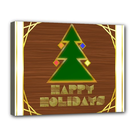 Art Deco Holiday Card Canvas 14  X 11