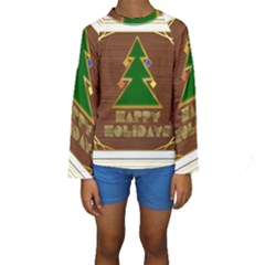 Art Deco Holiday Card Kids  Long Sleeve Swimwear