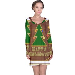 Art Deco Holiday Card Long Sleeve Nightdress