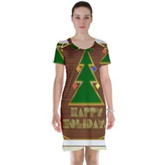 Art Deco Holiday Card Short Sleeve Nightdress