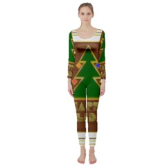 Art Deco Holiday Card Long Sleeve Catsuit