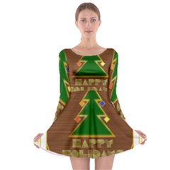 Art Deco Holiday Card Long Sleeve Skater Dress