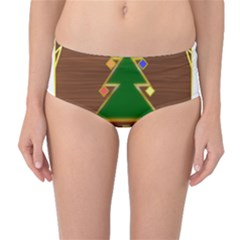 Art Deco Holiday Card Mid Waist Bikini Bottoms