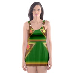 Art Deco Holiday Card Skater Dress Swimsuit