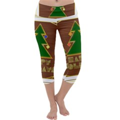 Art Deco Holiday Card Capri Yoga Leggings