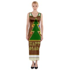 Art Deco Holiday Card Fitted Maxi Dress