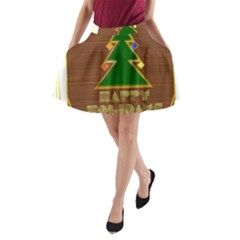Art Deco Holiday Card A-Line Pocket Skirt